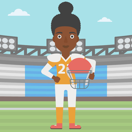 rugby field: An african-american professional rugby player holding ball and helmet in hands. Female rugby player in uniform standing on rugby stadium. Vector flat design illustration. Square layout.