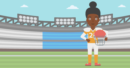 rugby field: An african-american professional rugby player holding ball and helmet in hands. Female rugby player in uniform standing on rugby stadium. Vector flat design illustration. Horizontal layout.