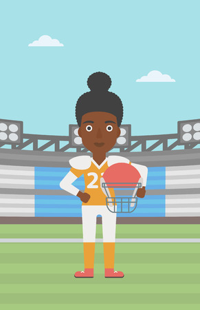 rugby player: An african-american professional rugby player holding ball and helmet in hands. Female rugby player in uniform standing on rugby stadium. Vector flat design illustration. Vertical layout.