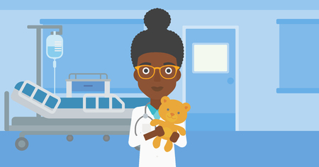 hospital gown: An african-american female pediatrician doctor holding a teddy bear on the background of hospital room. Vector flat design illustration. Horizontal layout.