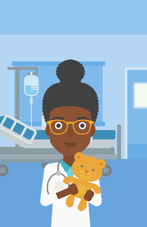 An african-american female pediatrician doctor holding a teddy bear on the background of hospital room. Vector flat design illustration. Vertical layout. 矢量图像