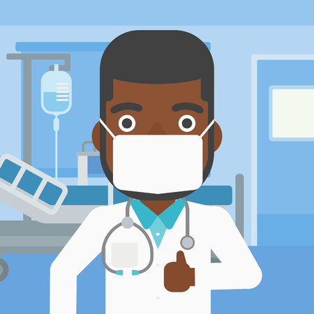 protective gown: An african-american doctor in mask giving thumbs up while standing on the background of hospital room. Vector flat design illustration. Square layout.