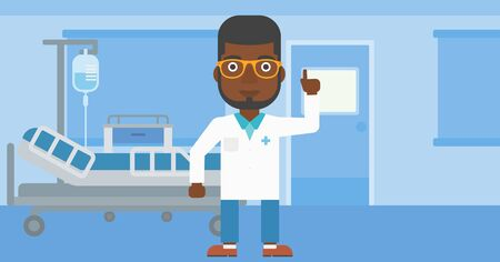 hospital gown: An african-american doctor in medical gown showing finger up while standing on the background of hospital ward. Vector flat design illustration. Horizontal layout.
