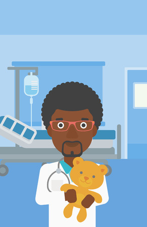 pediatrist: An african-american male pediatrician doctor holding a teddy bear on the background of hospital room. Vector flat design illustration. Vertical layout.