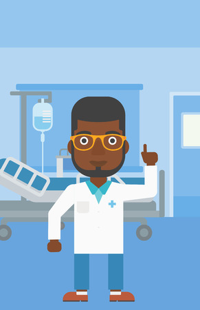 hospital gown: An african-american doctor in medical gown showing finger up while standing on the background of hospital ward. Vector flat design illustration. Vertical layout.