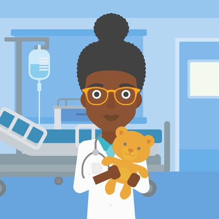 pediatrist: An african-american female pediatrician doctor holding a teddy bear on the background of hospital room. Vector flat design illustration. Square layout. Illustration