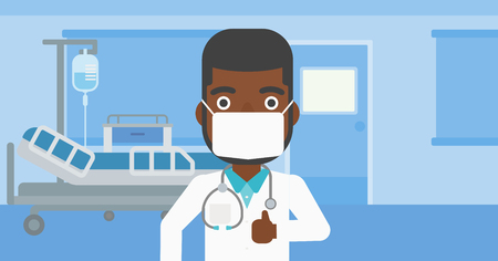 protective gown: An african-american doctor in mask giving thumbs up while standing on the background of hospital room. Vector flat design illustration. Horizontal layout. Illustration