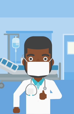 protective gown: An african-american doctor in mask giving thumbs up while standing on the background of hospital room. Vector flat design illustration. Vertical layout.