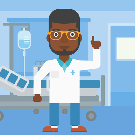 hospital gown: An african-american doctor in medical gown showing finger up while standing on the background of hospital ward. Vector flat design illustration. Square layout. Illustration