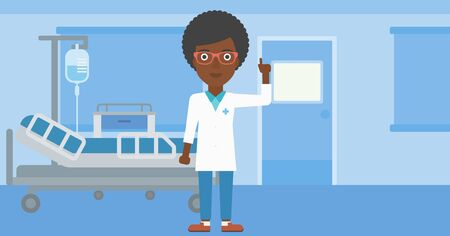 hospital gown: An african-american female doctor in medical gown showing finger up while standing on the background of hospital ward. Vector flat design illustration. Horizontal layout.