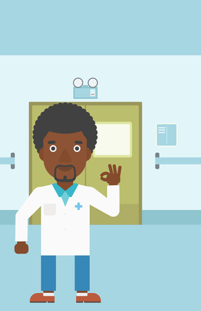 hospital corridor: An african-american doctor in medical gown showing ok sign in the hospital corridor. Vector flat design illustration. Vertical layout.