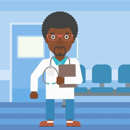 stetoscope: An african-american friendly doctor with stetoscope standing in hospital corridor and carrying folder of patient or medical information. Vector flat design illustration. Square layout. Illustration