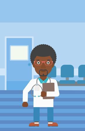 stetoscope: An african-american friendly doctor with stetoscope standing in hospital corridor and carrying folder of patient or medical information. Vector flat design illustration. Vertical layout. Illustration