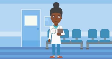 doctor and patient vector: African-american young female friendly doctor with stetoscope standing in hospital corridor and carrying folder of patient or medical information. Vector flat design illustration. Horizontal layout. Illustration