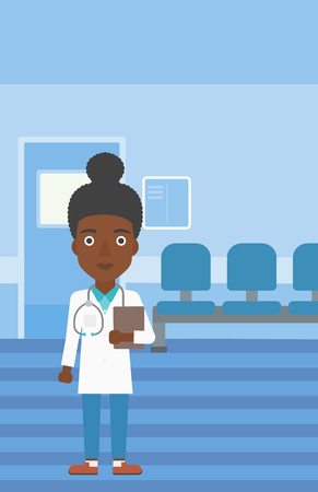 stetoscope: An african-american young female friendly doctor with stetoscope standing in hospital corridor and carrying folder of patient or medical information. Vector flat design illustration. Vertical layout.
