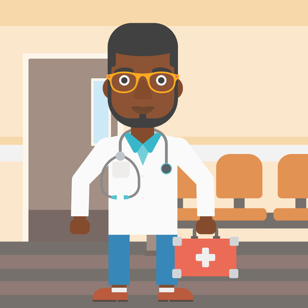 An african-american doctor in uniform with first aid kit standing in the hospital corridor. Vector flat design illustration. Square layout. Ilustracja