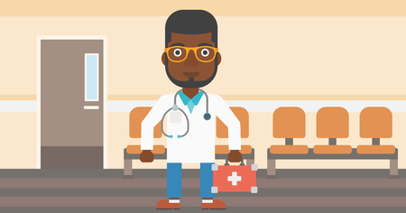 hospital corridor: An african-american doctor in uniform with first aid kit standing in the hospital corridor. Vector flat design illustration. Horizontal layout. Illustration