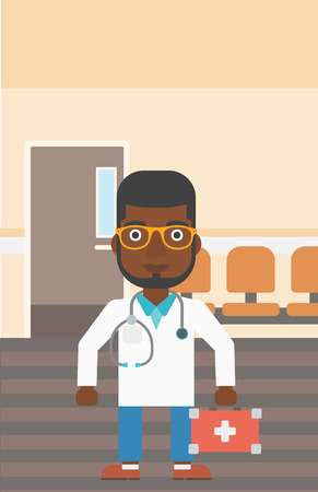 hospital corridor: An african-american doctor in uniform with first aid kit standing in the hospital corridor. Vector flat design illustration. Vertical layout.