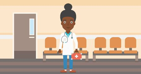 hospital corridor: An african-american young female doctor in uniform with first aid kit standing in the hospital corridor. Vector flat design illustration. Horizontal layout. Illustration