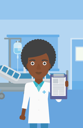 documentation: An african-american young female doctor showing clipboard with prescription while standing on the background of hospital room. Vector flat design illustration. Vertical layout.