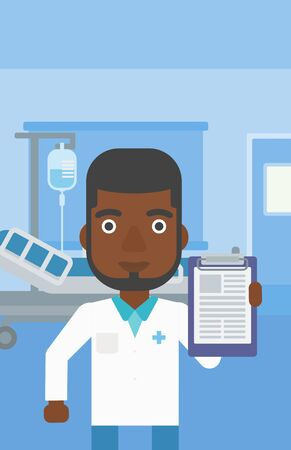 documentation: An african-american doctor with the beard showing clipboard with prescription while standing on the background of hospital room. Vector flat design illustration. Vertical layout. Illustration