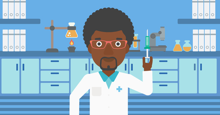 laboratory equipment: An african-american laboratory assistant with the beard holding syringe on the background of a laboratory with equipment. Vector flat design illustration. Horizontal layout.