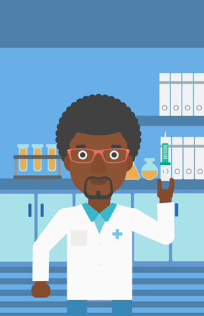 laboratory equipment: An african-american laboratory assistant with the beard holding syringe on the background of a laboratory with equipment. Vector flat design illustration. Vertical layout.