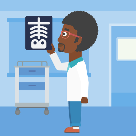 radiograph: An african-american doctor with the beard looking at a skeleton radiograph in the medical office. Vector flat design illustration. Square layout. Illustration