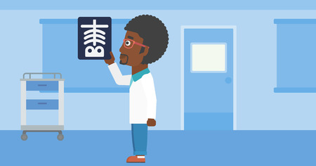 radiograph: An african-american doctor with the beard looking at a skeleton radiograph in the medical office. Vector flat design illustration. Horizontal layout.
