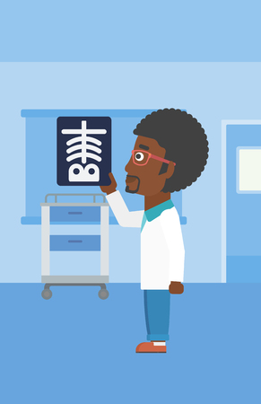 radiograph: An african-american doctor with the beard looking at a skeleton radiograph in the medical office. Vector flat design illustration. Vertical layout.