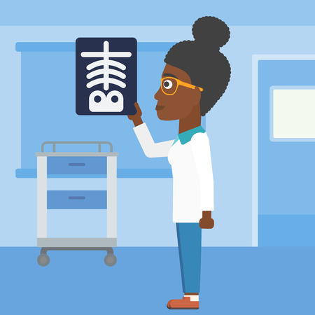 radiograph: An african-american young female doctor looking at a skeleton radiograph in the medical office. Vector flat design illustration. Square layout.