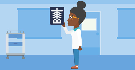 radiograph: An african-american young female doctor looking at a skeleton radiograph in the medical office. Vector flat design illustration. Horizontal layout.