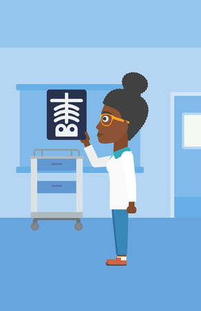 radiograph: An african-american young female doctor looking at a skeleton radiograph in the medical office. Vector flat design illustration. Vertical layout. Illustration