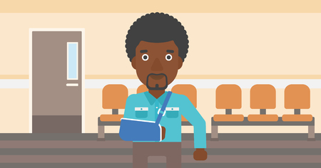 brace: An african-american man with broken right arm in brace standing in the hospital corridor. Vector flat design illustration. Horizontal layout.