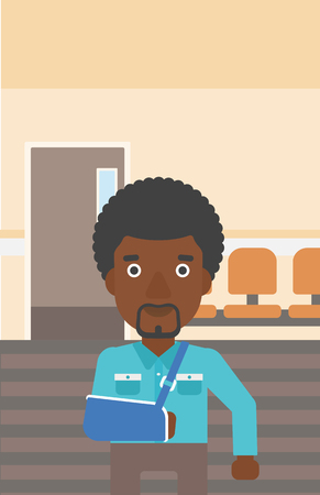 corridor: An african-american man with broken right arm in brace standing in the hospital corridor. Vector flat design illustration. Vertical layout.
