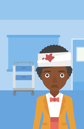 An african-american young sad wounded woman with bandages over her head in the medical office. Vector flat design illustration. Vertical layout. Stock Illustratie