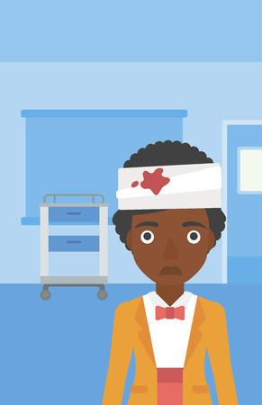 Een Afrikaans-Amerikaanse jonge trieste gewonde vrouw met pleisters boven haar hoofd in de medische kantoor. Vector platte ontwerp illustratie. Verticale lay-out. Stockfoto - 59682612