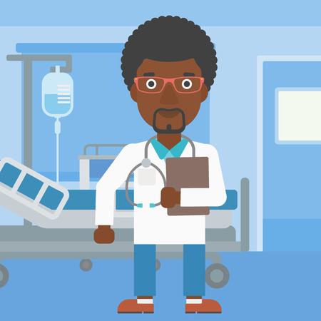 doctor and patient vector: An african-american friendly doctor with stetoscope standing in hospital ward and carrying folder of patient or medical information. Vector flat design illustration. Square layout.