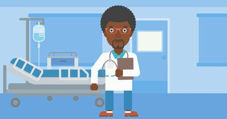 doctor and patient vector: An african-american friendly doctor with stetoscope standing in hospital ward and carrying folder of patient or medical information. Vector flat design illustration. Horizontal layout. Illustration
