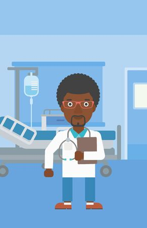 hospital ward: An african-american friendly doctor with stetoscope standing in hospital ward and carrying folder of patient or medical information. Vector flat design illustration. Vertical layout.