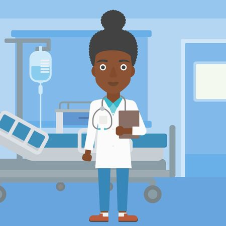 hospital ward: An african-american young female friendly doctor with stetoscope standing in hospital ward and carrying folder of patient or medical information. Vector flat design illustration. Square layout.