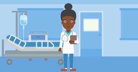 hospital ward: An african-american young female friendly doctor with stetoscope standing in hospital ward and carrying folder of patient or medical information. Vector flat design illustration. Horizontal layout. Illustration