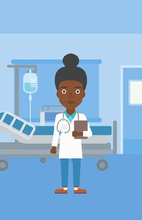 hospital ward: An african-american young female friendly doctor with stetoscope standing in hospital ward and carrying folder of patient or medical information. Vector flat design illustration. Vertical layout.
