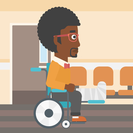 hospital corridor: An african-american man with broken leg in plaster sitting in wheelchair in the hospital corridor. Vector flat design illustration. Square layout.