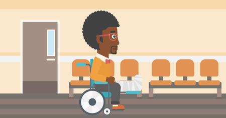 pierna rota: Un hombre afroamericano con la pierna rota en yeso que se sienta en la silla de ruedas en el pasillo del hospital. Vector de dise�o plano ilustraci�n. disposici�n horizontal.