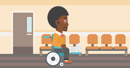An african-american man with broken leg in plaster sitting in wheelchair in the hospital corridor. Vector flat design illustration. Horizontal layout.