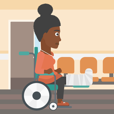 pierna rota: An african-american young injured woman with broken leg in plaster sitting in wheelchair in the hospital corridor. Vector flat design illustration. Square layout.