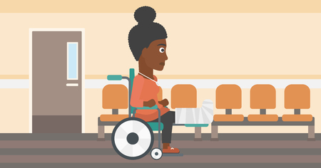 hospital corridor: An african-american young injured woman with broken leg in plaster sitting in wheelchair in the hospital corridor. Vector flat design illustration. Horizontal layout.