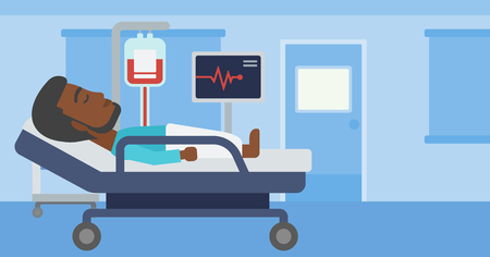 An african-american man lying in bed at hospital ward. Patient with heart rate monitor and equipment for blood transfusion in medical room. Vector flat design illustration. Horizontal layout. 矢量图像