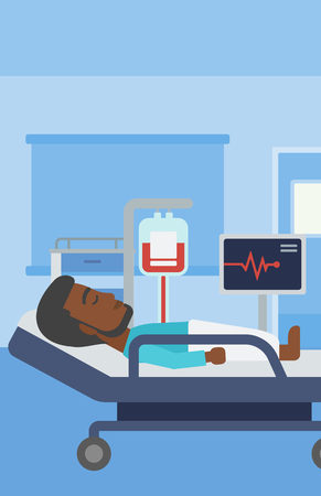 human vein  heartbeat: An african-american man lying in bed at hospital ward. Patient with heart rate monitor and equipment for blood transfusion in medical room. Vector flat design illustration. Vertical layout.
